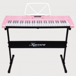 Karrera 61 Keys Electronic Keyboard Piano with Stand - Pink