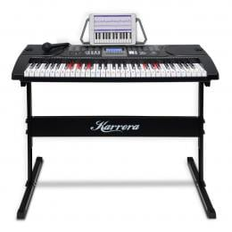 Karrera 61 Keys Electronic LED Keyboard Piano with Stand - Black