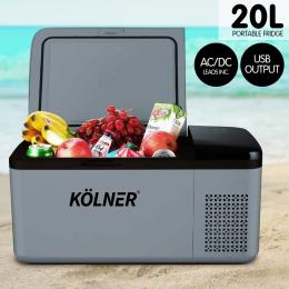 Kolner 20L Portable Fridge Cooler Freezer Camping Refrigerator - Grey
