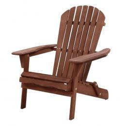 Outdoor Furniture Beach Chair Wooden Adirondack Patio Lounge Brown