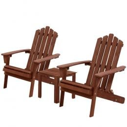 3PC Outdoor Setting Beach Chairs Table Wooden Adirondack Lounge Garden