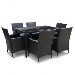 Outdoor Furniture 7pcs Dining Set Faux Rattan Wicker