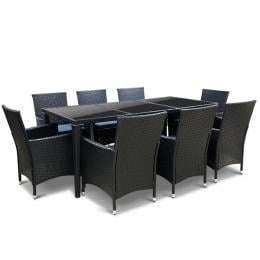 9 Piece Outdoor Dining Set - Black