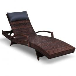 Outdoor Sun Lounge Furniture Day Bed Wicker Pillow Sofa Set Brown
