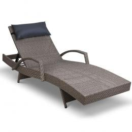 Outdoor Sun Lounge Furniture Bed Wicker Pillow Sofa Set Light Brown