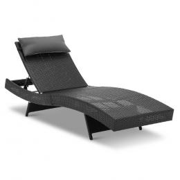 Wicker Outdoor Sun Lounger - Black