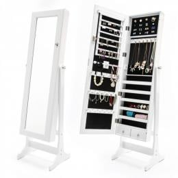 Mirror Jewellery Cabinet 2x Drawer LOWE - WHITE