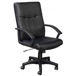 Exec Prem PVC Leather Office Comp Work Chair Deluxe Black 8