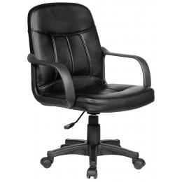 Exec Prem Pvc Leather Office Comp Work Chair Deluxe Black 9