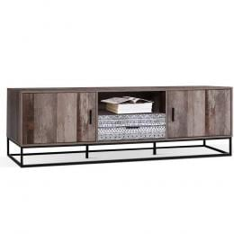 TV Cabinet Entertainment Stand Storage Wooden Industrial Rustic 180cm