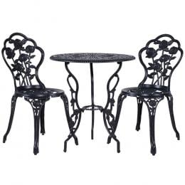 3PC Outdoor Setting Cast Aluminium Bistro Table Chair Patio Black