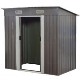 4ft x 8ft Garden Shed Flat Roof Outdoor Storage Shelter - Grey