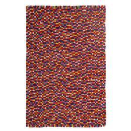 Felted Wool Unique Textured Ball Design Multi Floor Rug