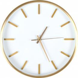 Helsinki Aluminium Wall Clock White W/gold Drame 25 X 4cm