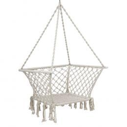 Camping Hammock Chair Patio Swing Portable Cotton Rope Cream