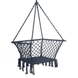 Camping Hammock Chair Patio Swing Hammocks Portable Cotton Rope Grey