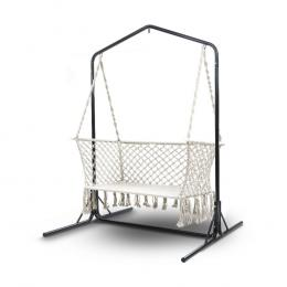 Double Swing Hammock Chair with Stand Macrame Outdoor  Chairs