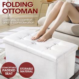 Leather foldable stool White