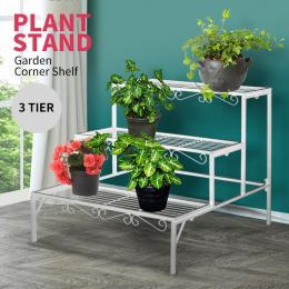 Levede 3 Tier Rectangle Shape Metal Plant Stand Planter Shelf in White