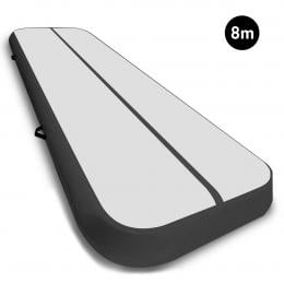 8m Airtrack Tumbling Mat Gymnastics Exercise 20cm Air Track Grey Black