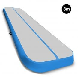 8m Airtrack Tumbling Mat Gymnastics Exercise 20cm Air Track Grey Blue