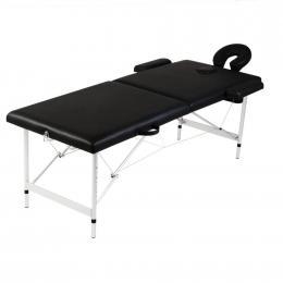 Black Foldable Massage Table 2 Zones with Aluminium Frame