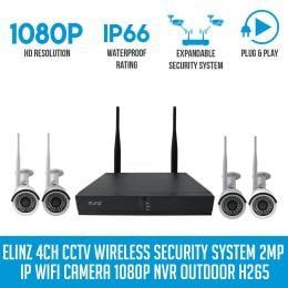 Elinz 4ch Cctv Wireless Security System 2mp Ip Wifi 4x Camera