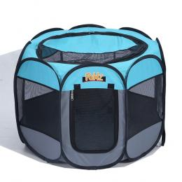 Portable Pet Playpen With Collapsible Bowl In Blue 30""