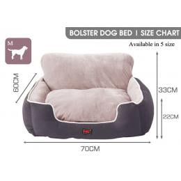 PaWz Size M Grey Colour Pet Deluxe Soft Cushion with High Back Support
