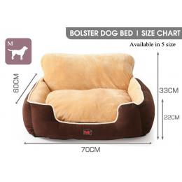 PaWz Size M Brown Colour Pet Deluxe Soft Cushion with Back Support