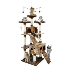 Pawz 2.1m Cat Scratching Tree Gym House In Dark Brown Colour
