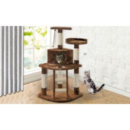 Pawz 1.2m Cat Scratching Tree Gym House In Brown Colour