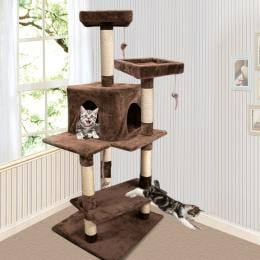 Pawz 1.45m Cat Scratching Tree Gym House In Brown Colour