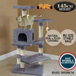 Pawz 1.45m Cat Scratching Tree Gym House In Grey Colour
