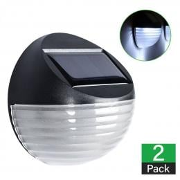 2 X Fence Lights Round Solar Powered LED Waterproof Outdoor Garden