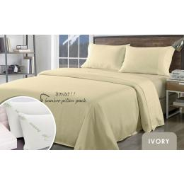 Royal Comfort Bamboo Blend Sheet Set  Pillows 2 Pack - King - Ivory