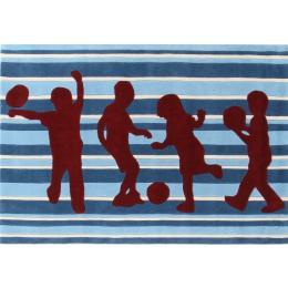 Funky Striped Kids Floor Rug Blue And Burgundy
