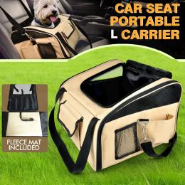 PaWz Portable Pet Carrier Car Booster Seat in Size Large in Beige