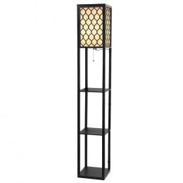 Shelves Floor Lamp Vintage Wood Standing Light Storage Livingroom