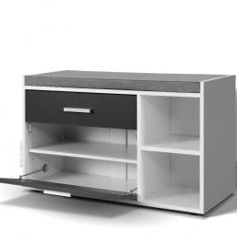 Shoe Cabinet Bench  Organiser Rack Wooden Cupboard Fabric Seat