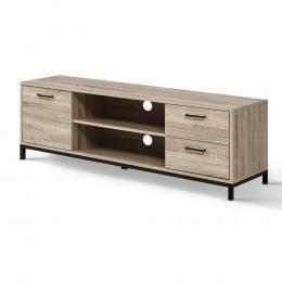 TV Cabinet Entertainment Unit Industrial Wooden Metal Frame 132cm Oak
