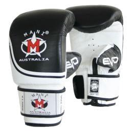 Evo Leather Bag Mitts Gym Punching Boxing Gloves Black/White