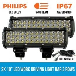 2x 10 Led Work Driving Light Bar Philips 3 Rows Spot Offroad