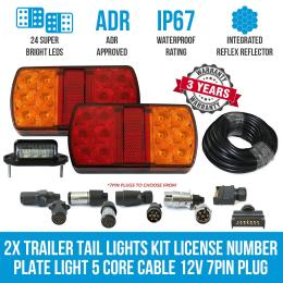 Elinz 2x Trailer Tail Lights Kit License Number Plate Light