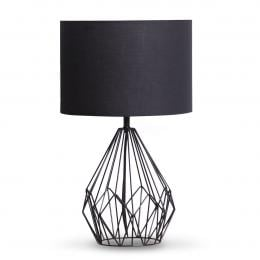 Metal wire table lamp in black finish With black drum shade