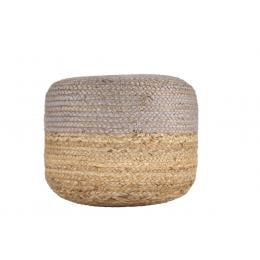 Ava Dual Color Jute Pouf NAT/ GREY