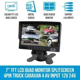 Elinz 7In Monitor Hd 12v/24v With 2 Av Inputs 4pin Advanced