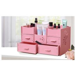 Wood-plastic Makeup Cosmetic Diy Organizer Drawers Pink