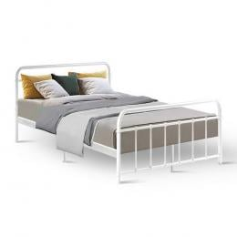 Metal Bed Frame Double Size Platform Foundation Base  White