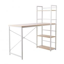 Artiss Metal Desk with Shelves - White with Oak Top